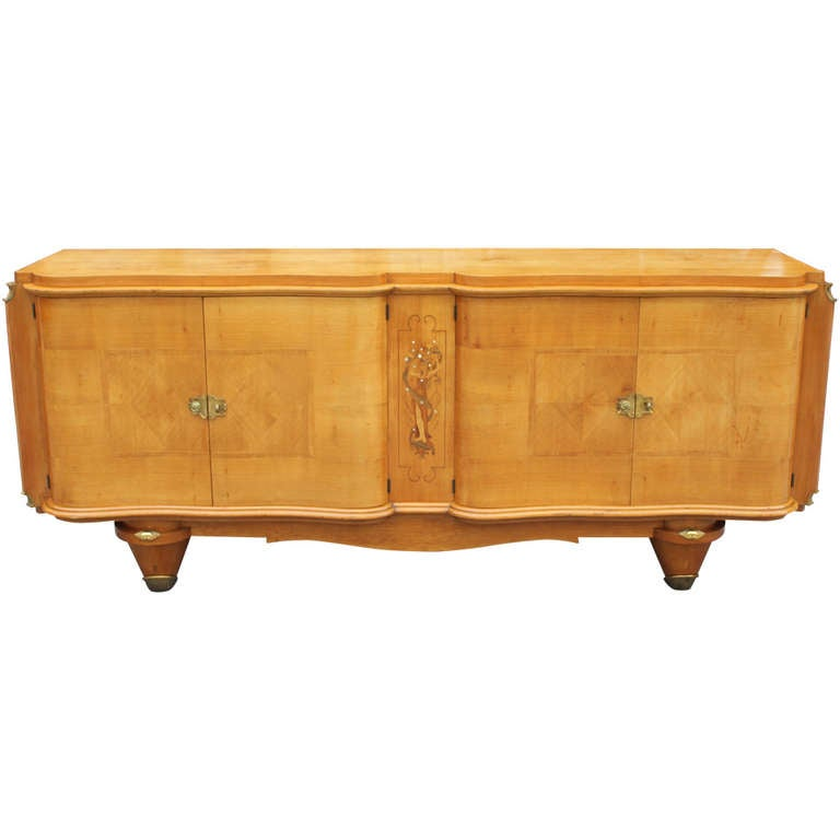 french art deco sycamore buffet m o p detail at 1stdibs. Black Bedroom Furniture Sets. Home Design Ideas