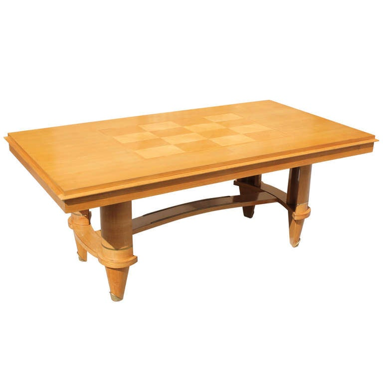 French art deco sycamore dining table style jules leleu at 1stdibs - Art deco dining room table ...