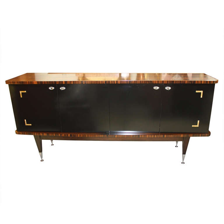 french art deco exotic macassar ebony black lacquer m o p buffet sideboard at 1stdibs. Black Bedroom Furniture Sets. Home Design Ideas