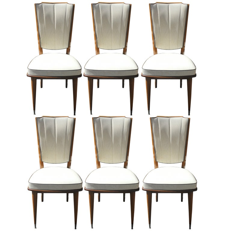 Set 6 French Art Deco Dining Chairs Solid Walnut at 1stdibs