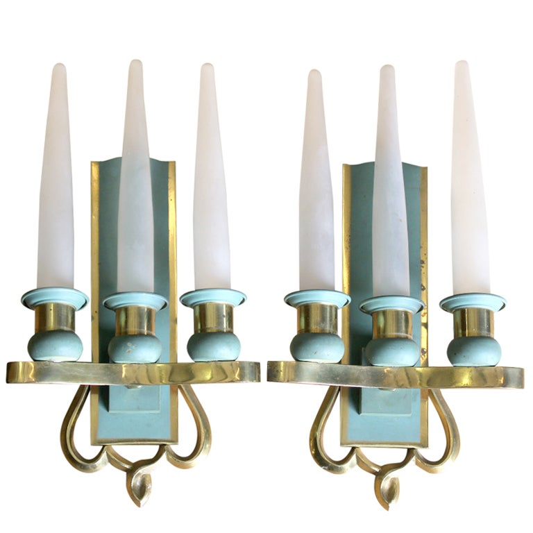 Art Deco Wax Candle Wall Sconces : Pair French Art Deco Glass Candle Sconces at 1stdibs