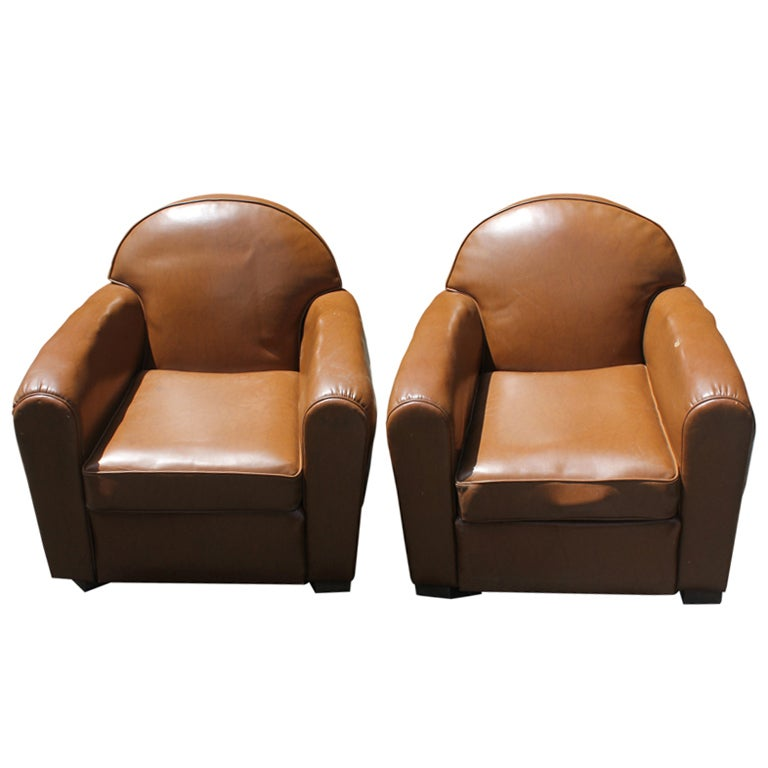 french art deco brown vinyl club chairs at 1stdibs. Black Bedroom Furniture Sets. Home Design Ideas