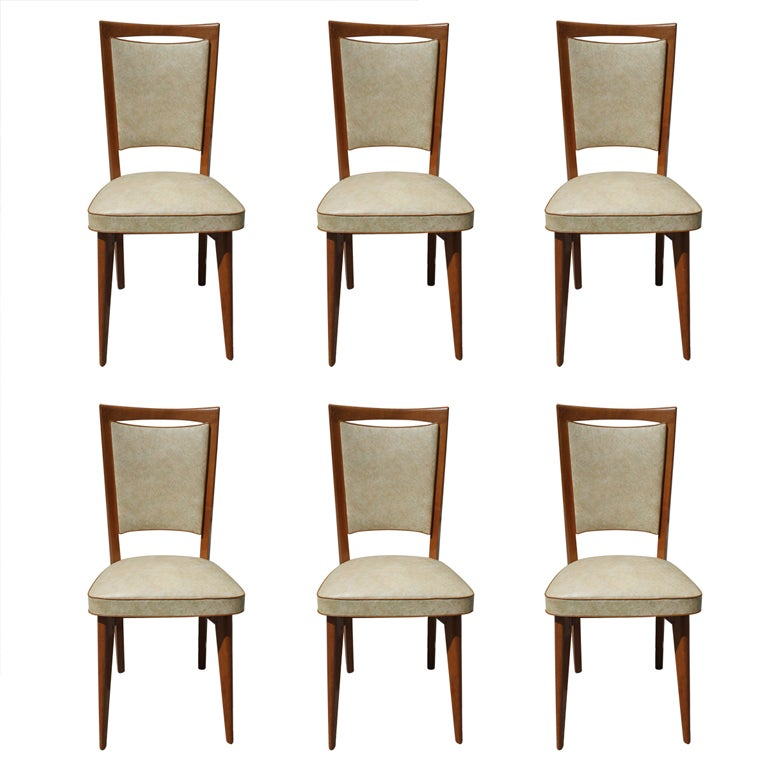 Set 6 French Art Deco Oak Dining Chairs At 1stdibs