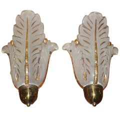 Pair French Art Deco Art Glass Tulip Form Sconces by Ezan