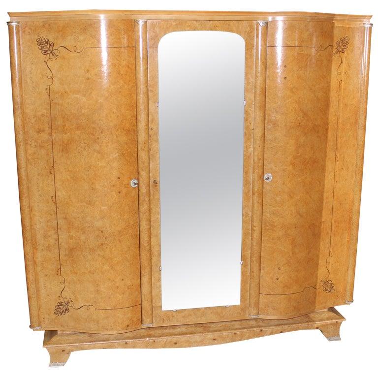 french art deco bur maple armoire wardrobe at 1stdibs. Black Bedroom Furniture Sets. Home Design Ideas