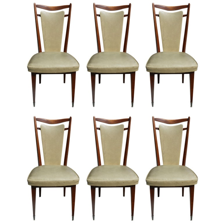 Set 6 French Art Deco Solid Walnut Dining Chairs at 1stdibs