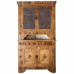 Oak and Walnut Folk Corner Cabinet