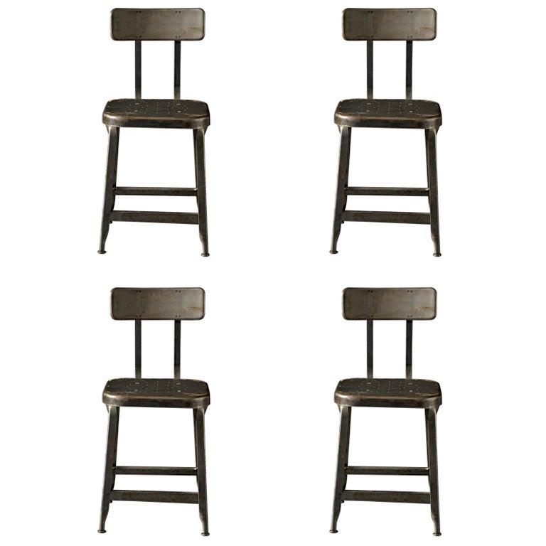 Industrial Metal Shop Chairs at 1stdibs