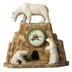 Faux Marblized Polar Bear Clock and Penguin Vases