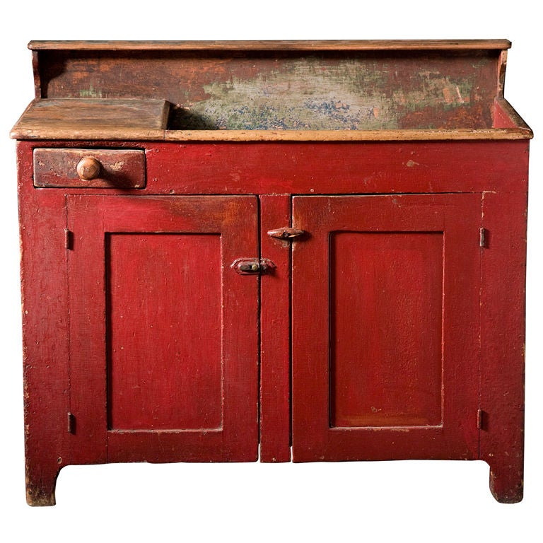 Dry Sink : Cherry Red Dry Sink at 1stdibs