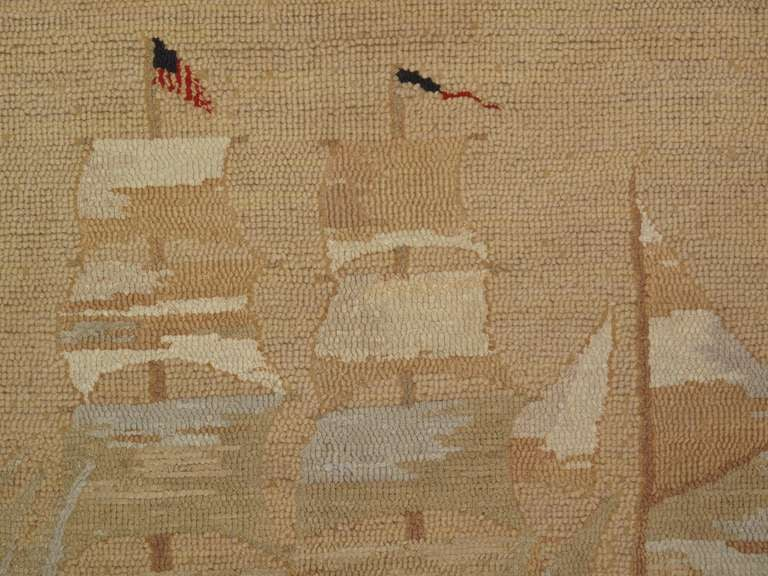 1920 S American Ghost Ship Hooked Rug At 1stdibs