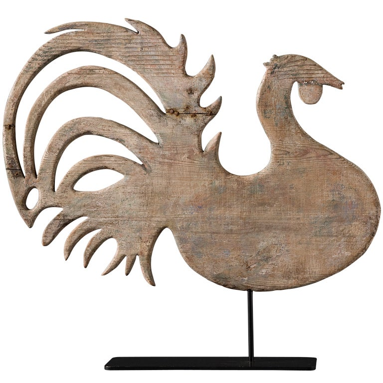 Vintage Wooden Weathervanes: Wooden Rooster Weathervane At 1stdibs