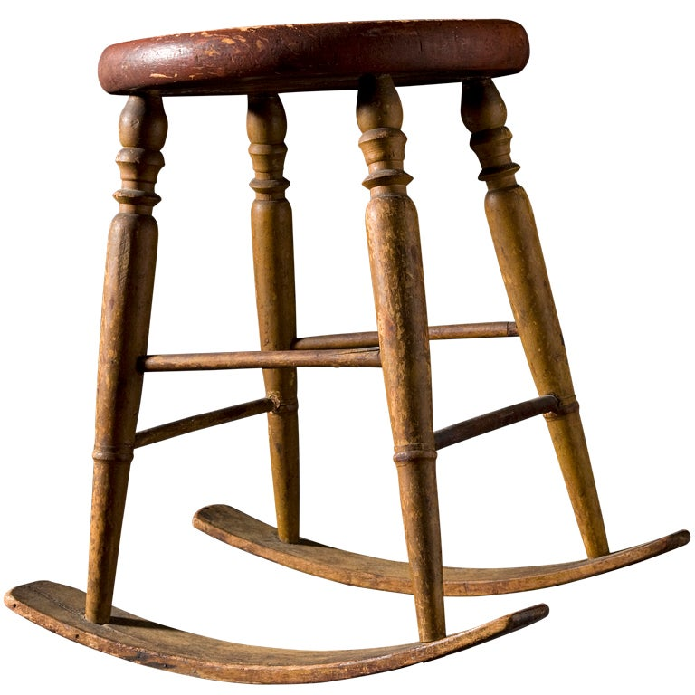 Unusual Windsor Rocking Stool At 1stdibs