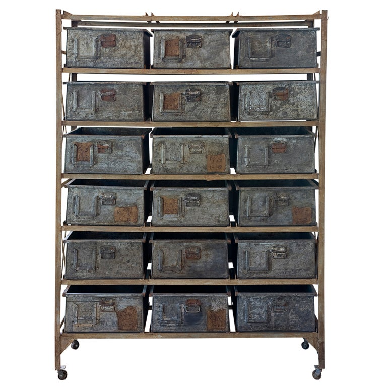 Industrial Metal Cabinet On Casters At 1stdibs