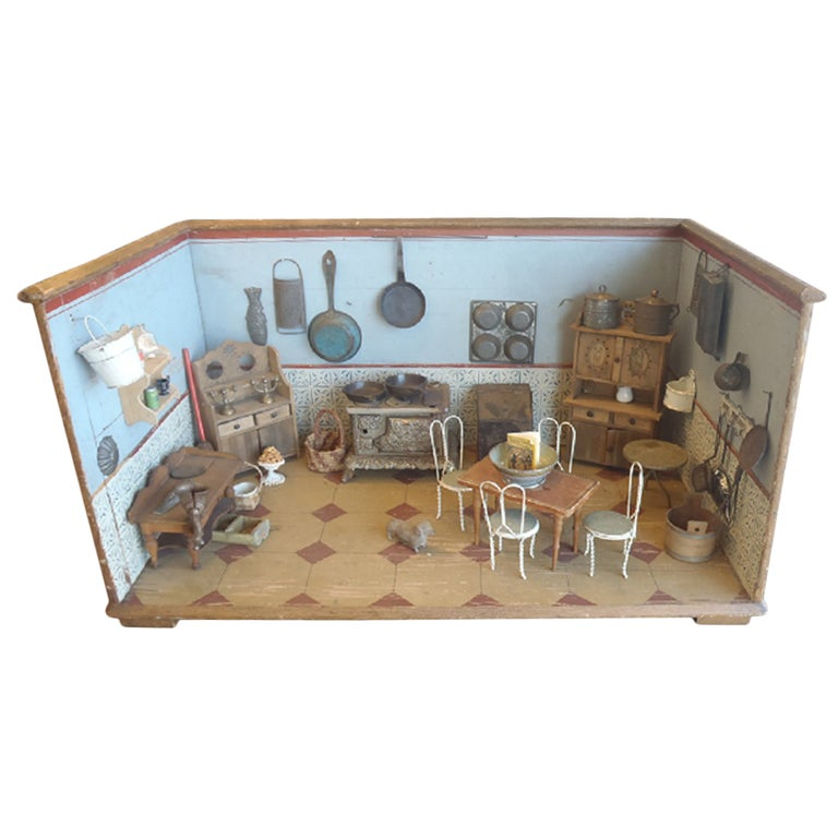 Painted And Lithographed Mini Kitchen Diorama At 1stdibs