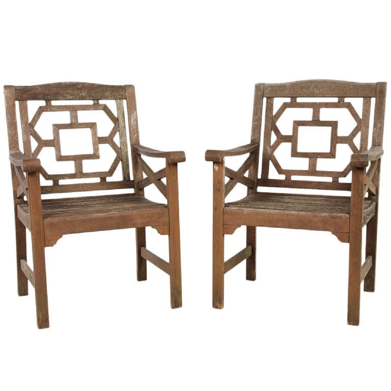 Vintage Chinese Chippendale Garden Chairs At 1stdibs