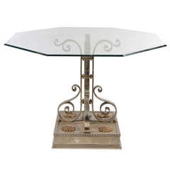 Polished Cast And Wrought Iron Table
