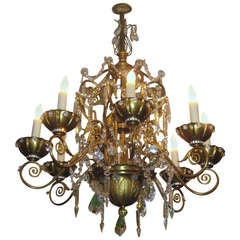 Maison Jansen Bronze and Crystal Eight-Light Chandelier