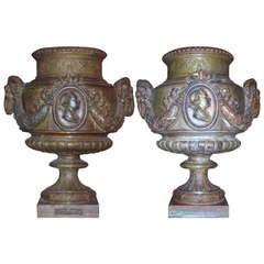 Pair of Large 19th c. Val D' Osne Cast Iron Urns, Paris