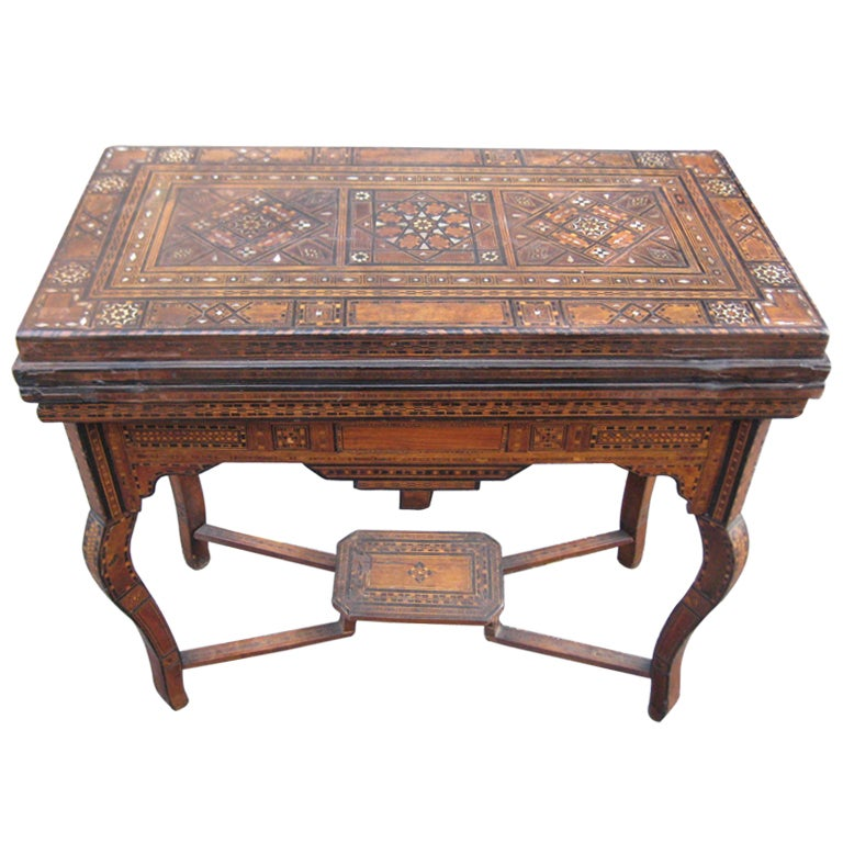 Eg20 Moroccan Inlaid Games Table At 1stdibs