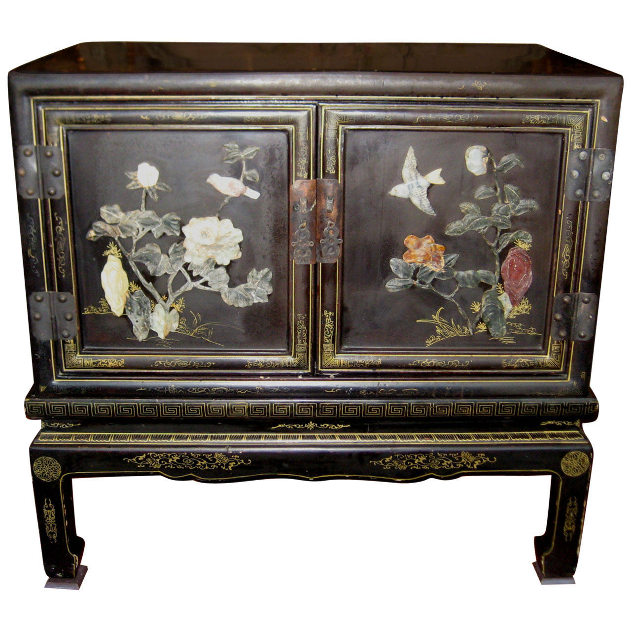 Chinese black lacquer and hardstone cabinet on stand at for Chinese black lacquer furniture