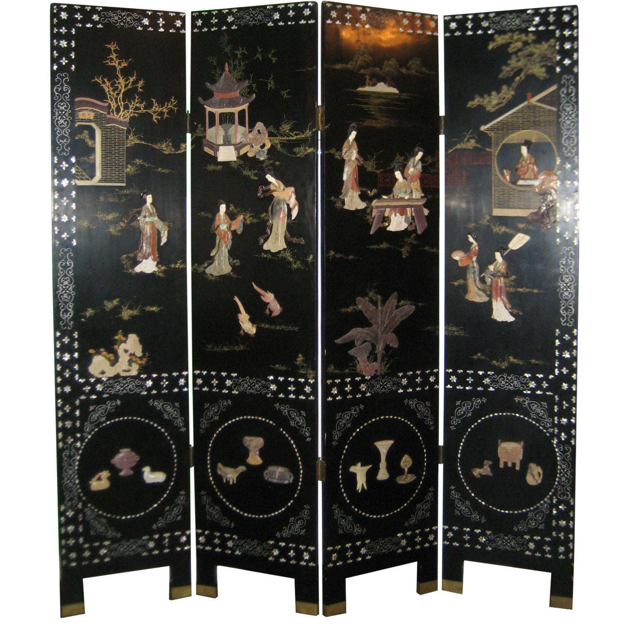 Chinese Black Lacquer And Hardstone Mounted Folding Screen