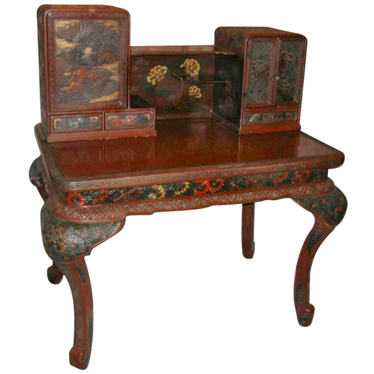 Japanese hand carved lacquered desk k191 at 1stdibs for Hand carved asian furniture