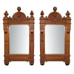 Pair of 19th Century Gothic Carved Mirrors