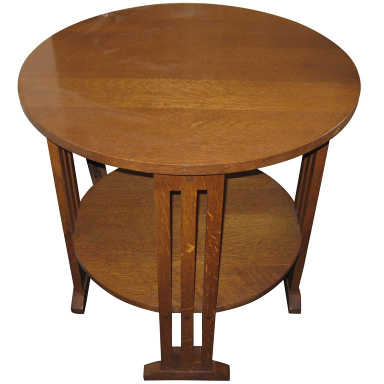 Stickley Style Oak Lamp Table With Shelf At 1stdibs