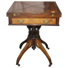 19th Century Regency Inlaid Rosewood Handkerchief Game Table