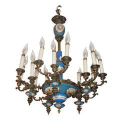 Sèvres Porcelain and Bronze Fifteen-Light Chandelier