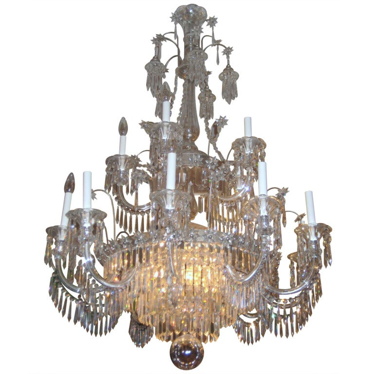 English Regency Style 15-Light Crystal Chandelier
