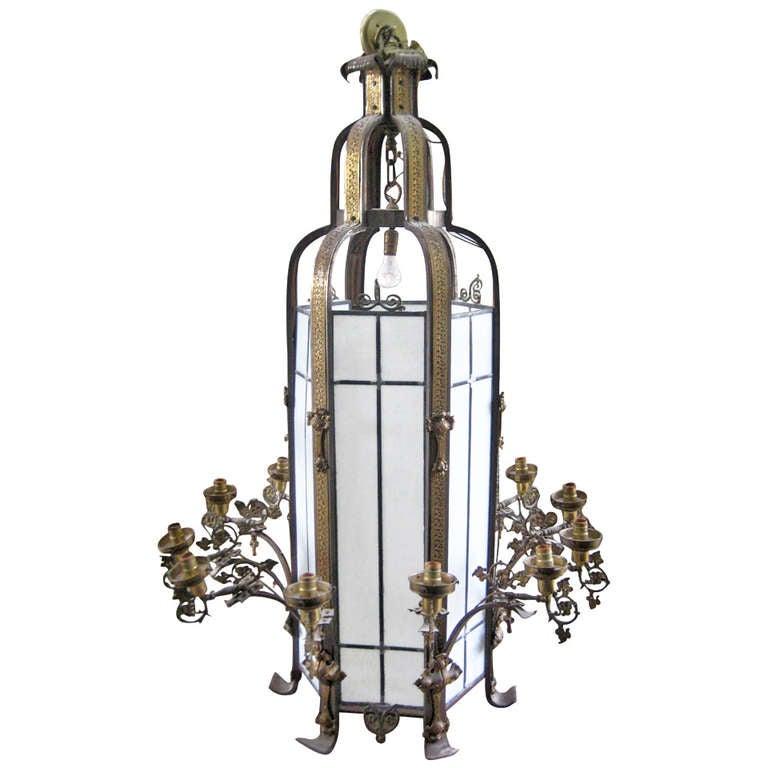Art Nouveau Bronze And Iron 13 Light Chandelier Circa