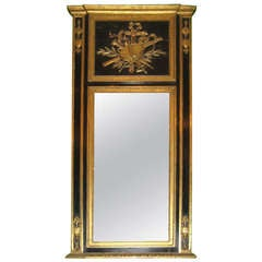 19th Century Neoclassical Black Painted and Carved Giltwood Trumeau Mirror
