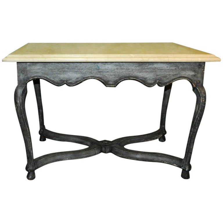 Nail Marble Top Coffee Table: Provincial Carved And Painted Marble Top Center Table At