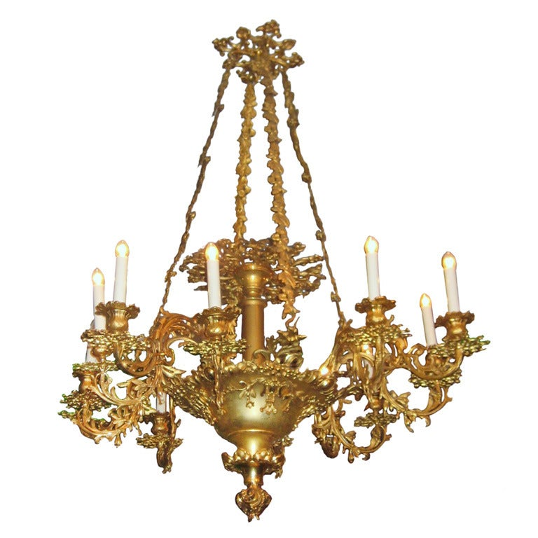 Very Fine Early 19th C. Baroque Style 12-light Gilt-bronze