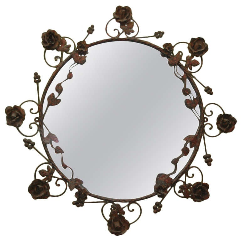 Continental wrought iron mirror at 1stdibs for Wrought iron mirror