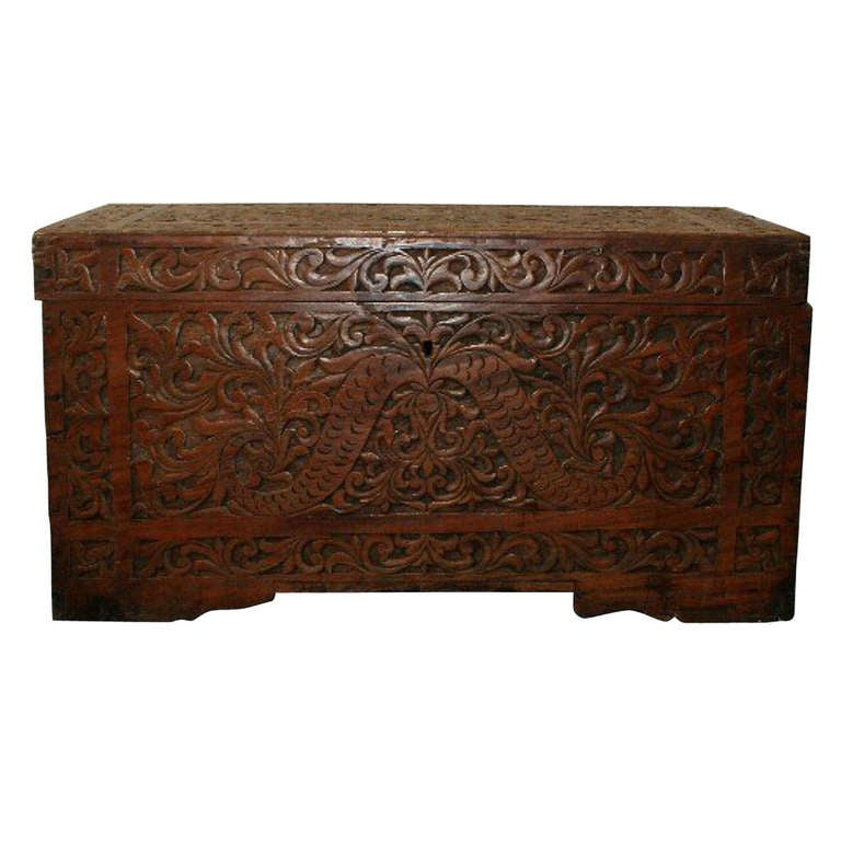 19th c chinese carved wood trunk at 1stdibs for Chinese art furniture