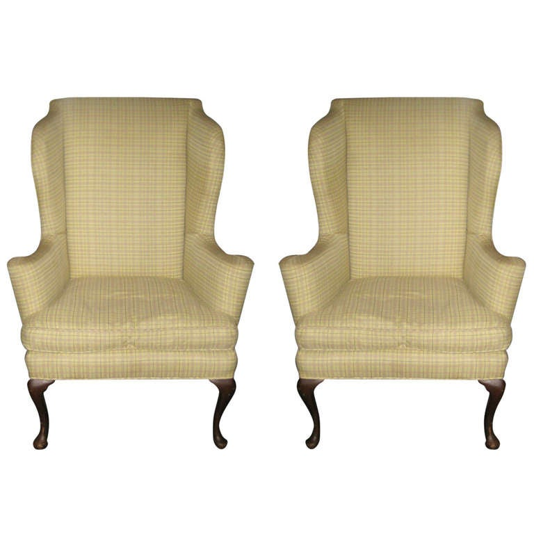 Fabulous Pair of Queen Anne Upholstered Wing Chairs at 1stdibs