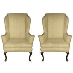 Pair of Queen Anne Wing Chairs with Down and Feather Seats