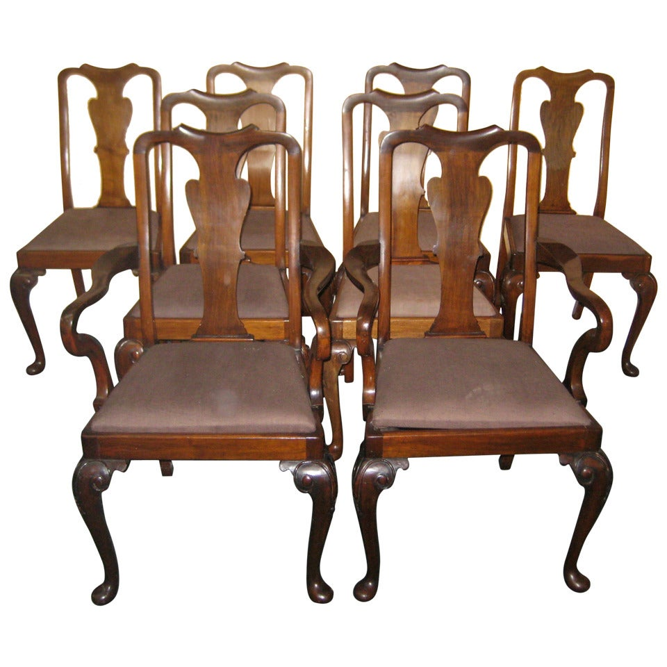 set of eight queen anne mahogany dining chairs at 1stdibs