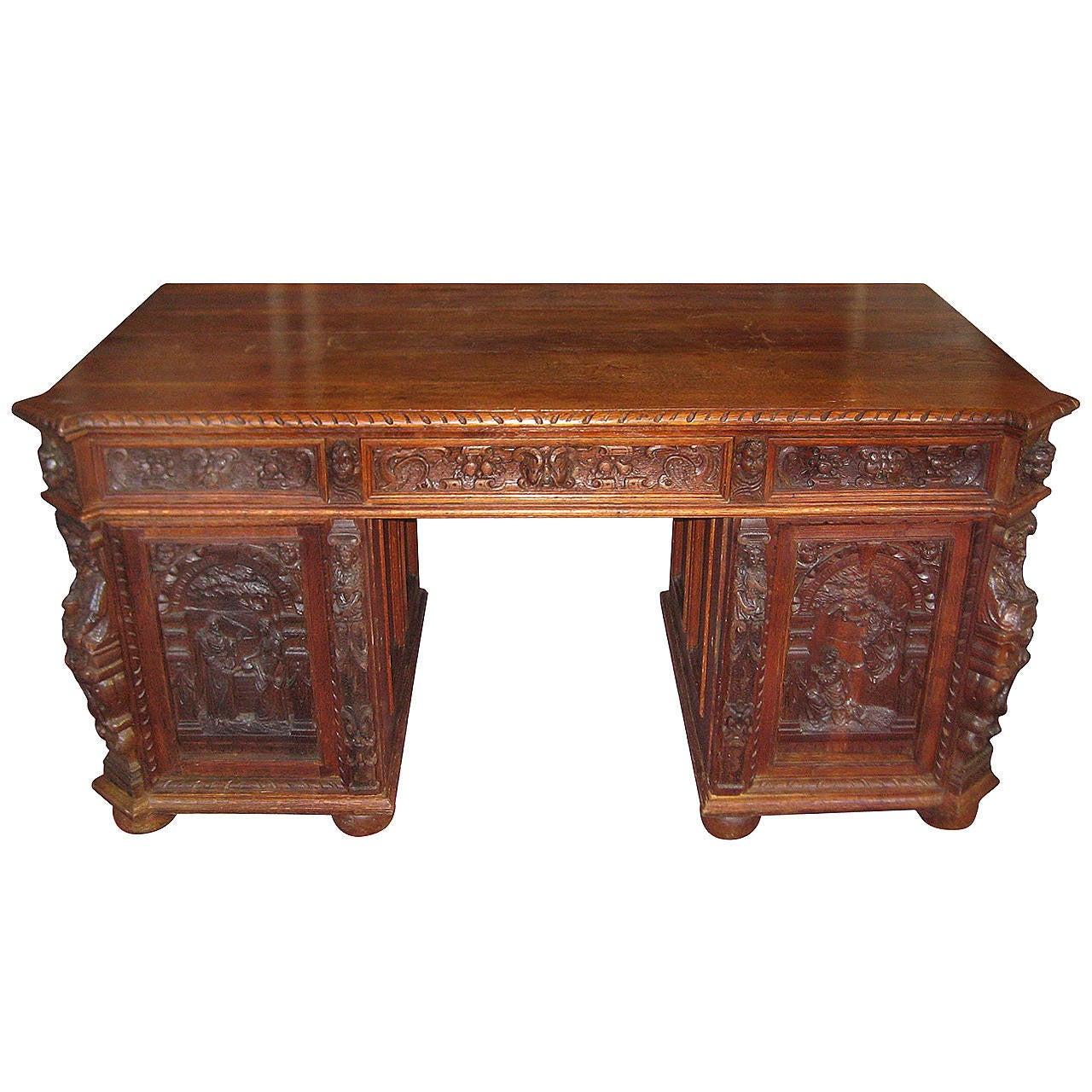Renaissance carved oak double pedestal desk at 1stdibs for Sideboard lindholm