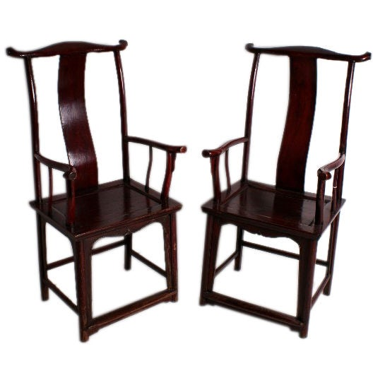 Pair of 19th c chinese yoke back arm chairs at 1stdibs for Chinese art furniture