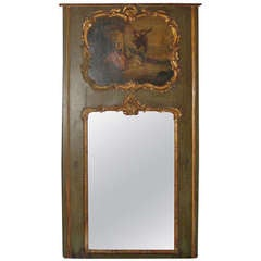 18th Century Louis XV Painted and Parcel Gilt Trumeau Mirror
