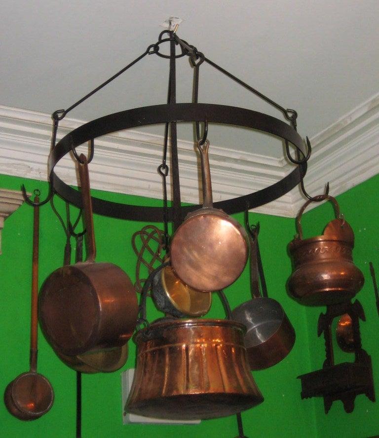 Antique iron hanging pot rack with 8 antique copper pots for Reclaimed wood pot rack