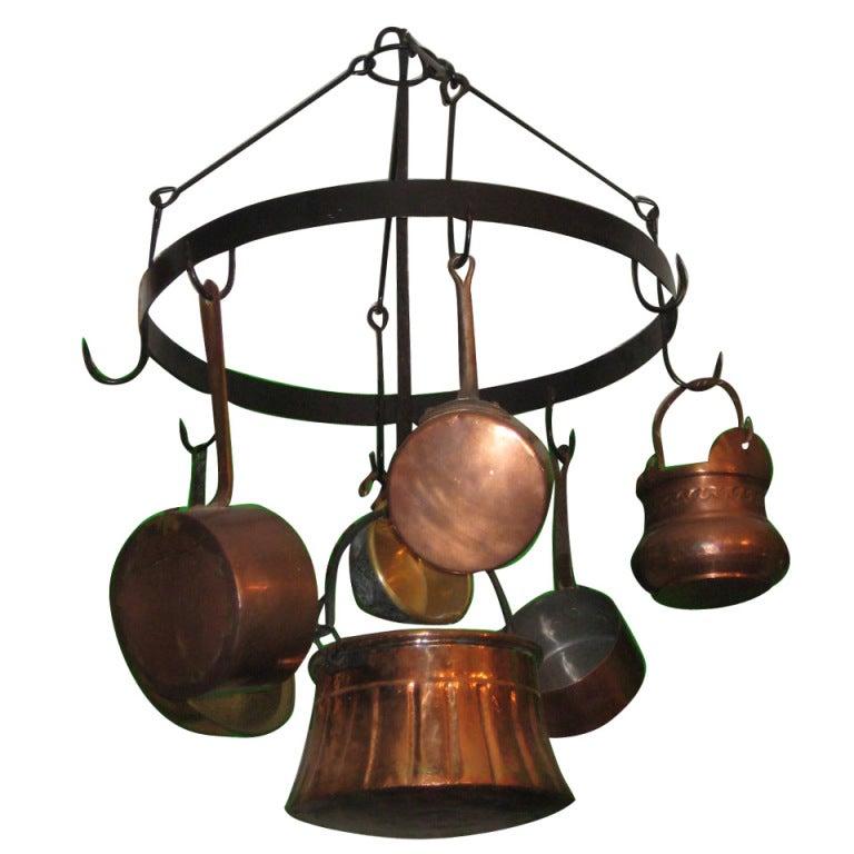 Antique Iron Hanging Pot Rack With 8 Antique Copper Pots