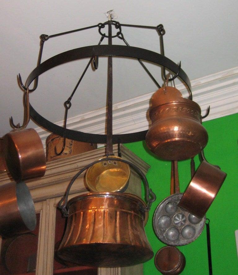 Antique Iron Hanging Pot Rack with 8 Antique Copper Pots ...