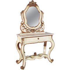 Italian Carved and Painted Marble-Top Vanity and Mirror, Reduced