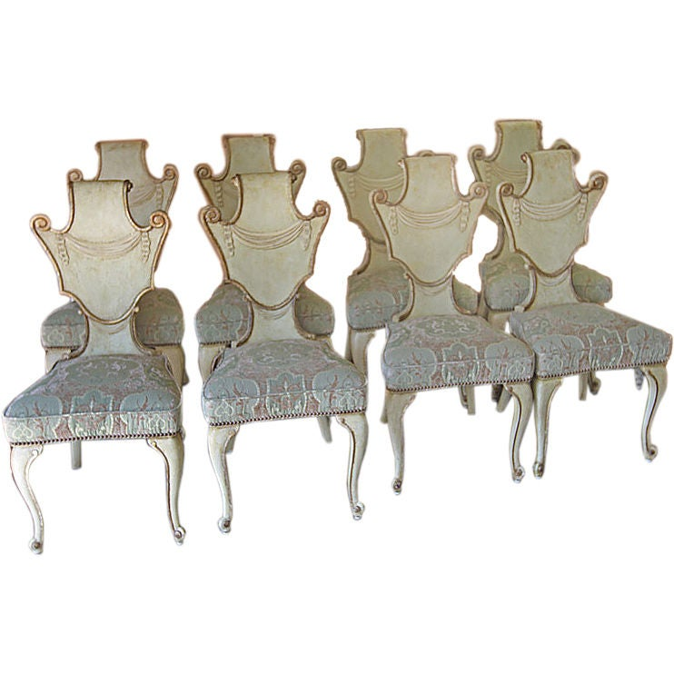 Set 8 Venetian Rococo Style Painted Dining Chairs At 1stdibs