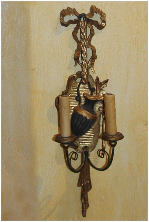 French Wooden Wall Lights : Pair of French LXVI Style Wooden Sconces at 1stdibs